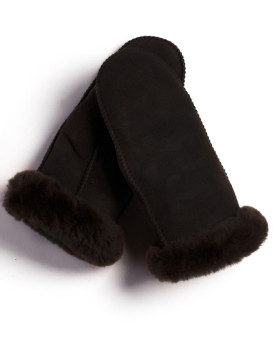 Alaska Shearling Sheepskin Mittens in Coffee Brown