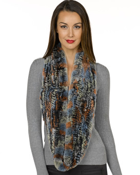 Alexandra Infinity Rex Fur Scarf in Multi Color