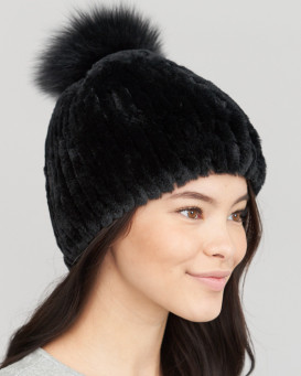 Alice Rex Rabbit Beanie Hat With Fox Pom Pom in Black