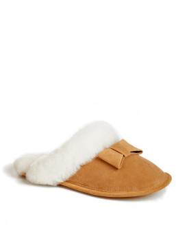 Damen Alicia Suede Bow Lammfell Slipper in Tan