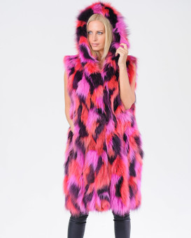 Alina Multi Color Fox Fur Vest with Hood