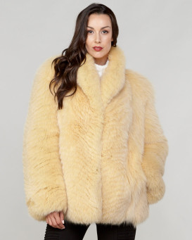 Allessia Fox Fur Coat in Yellow