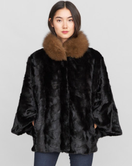 Arabella Pieced Black Mink Fur Cape with Brown Fox Fur Collar