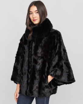 Arabella Pieced Black Mink Fur Cape with Fox Fur Collar