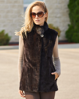 Aurelie Reversible Sheared Mink Vest with Scallop Design