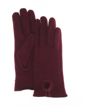 Astrid Mink Fur Pom Pom Glove with Bead Detail - Wine