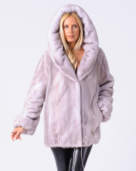 Aviana Silver Blue NAFA Mink Fur Jacket with Hood