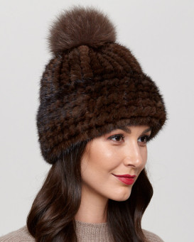 Belle Knit Mink Beanie Hat with Fox Fur Pom Pom in Brown