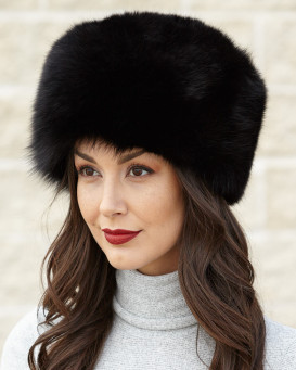 Zhivago Black Fox Pelz Pill Box Hat
