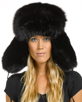 Ladies Black Fox Full Fur Russian Hat