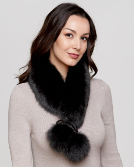 Black Fox Fur Collar with Pom Poms