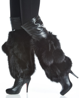 Black Fox Fur Leg Warmers with Pom Poms