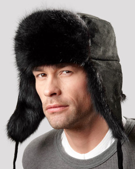 The Black Muskrat Russian Trooper Hat for Men