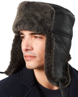 Black Napa Sheepskin Aviator Hat
