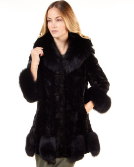 Black Sectioned Mink Jacket with Fox Collar, Trim and Cuffs