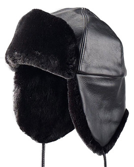 Black Sheared Beaver Trapper Hat for Men