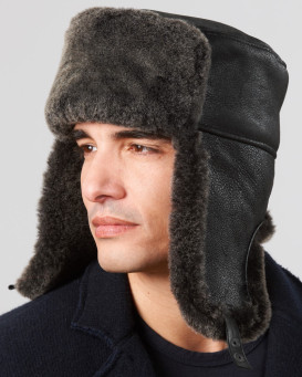 Black Frost Shearling Sheepskin Russian Hat for Men