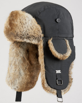 Black B-52 Aviator Hat with Faux Fur for Men