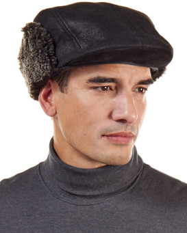 Black Frost Shearling Sheepskin Polo Flat Cap for Men