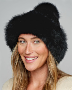 Blaire Mink Hat With Fox Fur Trim & Pom Pom in Black