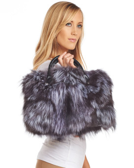 Blake Silver Fox Fur and Leather Purse