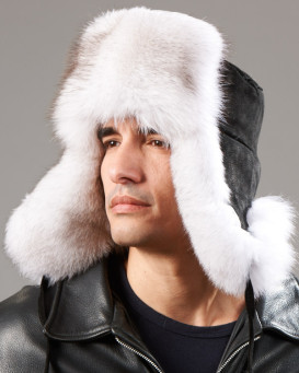 Blue Fox Fur & Suede Russian Ushanka Hat
