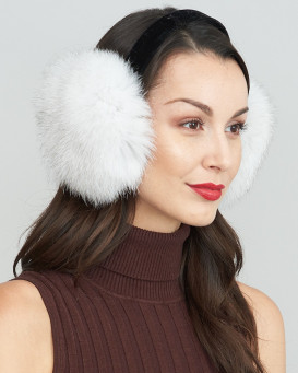 Blue Fox Fur Earmuffs with Velvet band