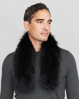 Brad Knit Fox Fur Pull Through Scarf in Jet Black