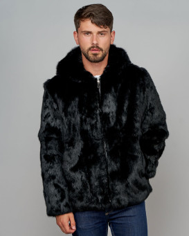 Brayden Rabbit Fur Zipper Jacket with Hood For Men