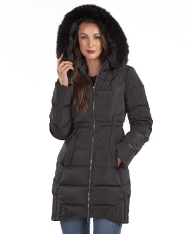 Briley Black Down Filled Coat with Fox Fur Hood Trim