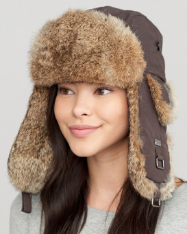 Brown Taslon Trapper with Natural Brown Rabbit Fur