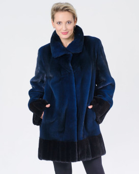 Callie Mink Fur Coat in Dark Blue