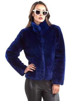 Camryn Sheared Beaver Jacket in Royal