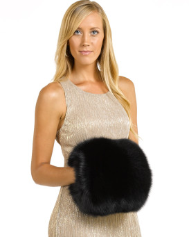 The Ava Canadian Fox Fur Barrel Muff in Black