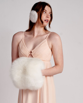 The Ava Canadian Fox Fur Barrel Muff in White