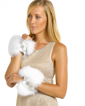 Carmella White Fox Wrist Cuffs with Swarovski Crystals