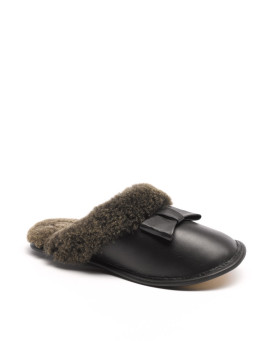 Ladies Carrie Napa Bow Sheepskin Slipper in Black