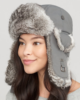 Charcoal Taslon Trapper with Natural Grey Rabbit Fur
