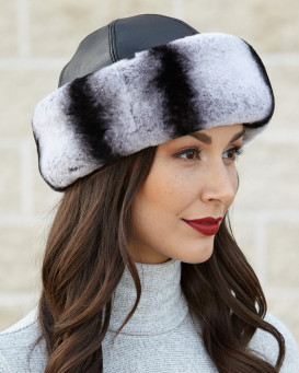 The Kaylee Rex Rabbit Cuff Hat in Chinchilla Grey