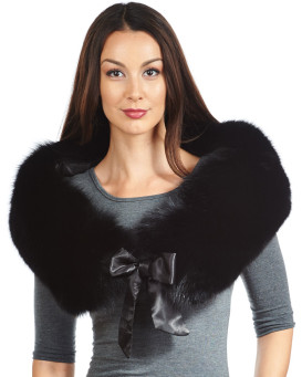 Christina Black Fox Fur Collar with Satin Ties
