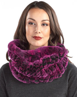 Christine Fuchsia Knitted Rex Rabbit Fur Snood Scarf
