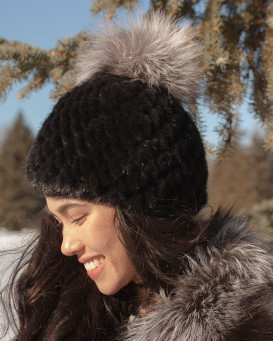 Ciara Knit Mink Beanie Hat with Silver Fox Pom Pom in Black