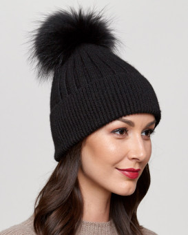 Coco Black Rib Knit Beanie Hat with Finn Raccoon Pom Pom