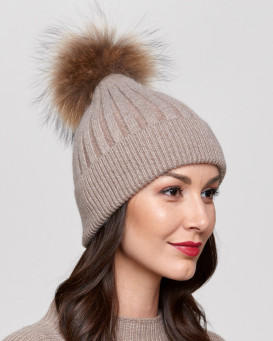Coco Brown Rib Knit Beanie Hat with Finn Raccoon Pom Pom