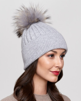 Coco Grey Rib Knit Beanie Hat with Finn Raccoon Pom Pom