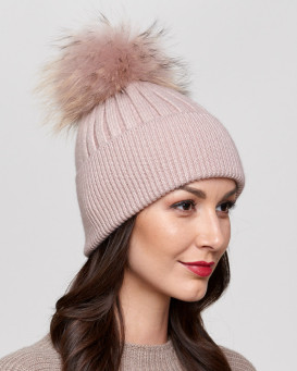 Coco Petal Rib Knit Beanie Hat with Finn Raccoon Pom Pom
