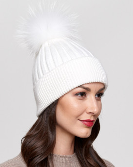 Coco White Rib Knit Beanie Hat with Finn Raccoon Pom Pom ... f70134d2be7
