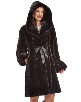 Collins Long Mink Coat with Hood in Mahogany