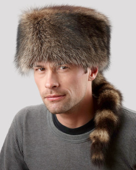 Raccoon Fur Coonskin Cap for Men