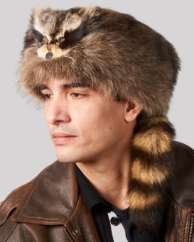 Raccoon Fur Coonskin Cap with Face for Men